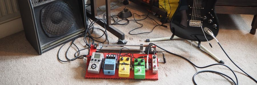 Guitar pedal board made by StopGap's Marcus