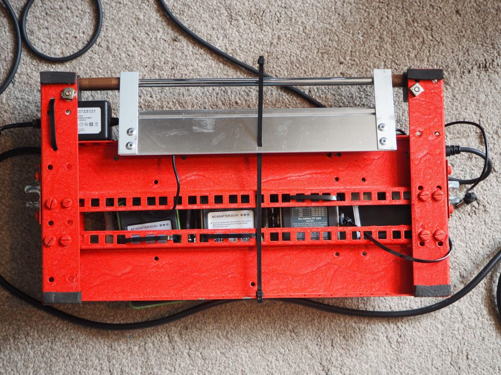 Underside of guitar pedal board