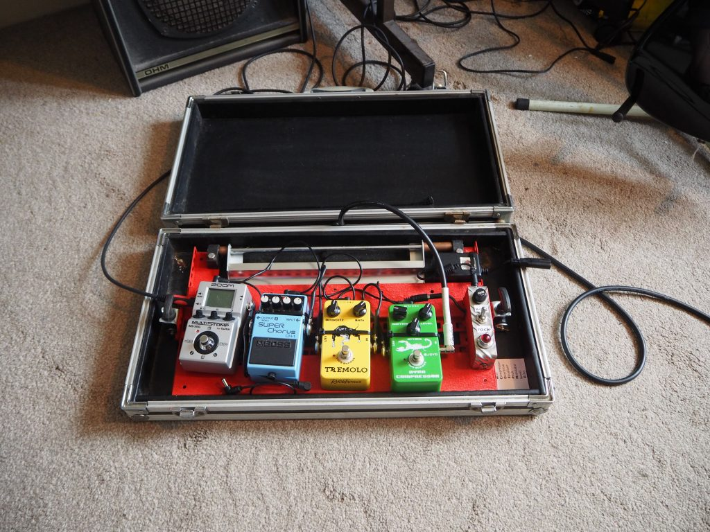 Guitar pedal board in case